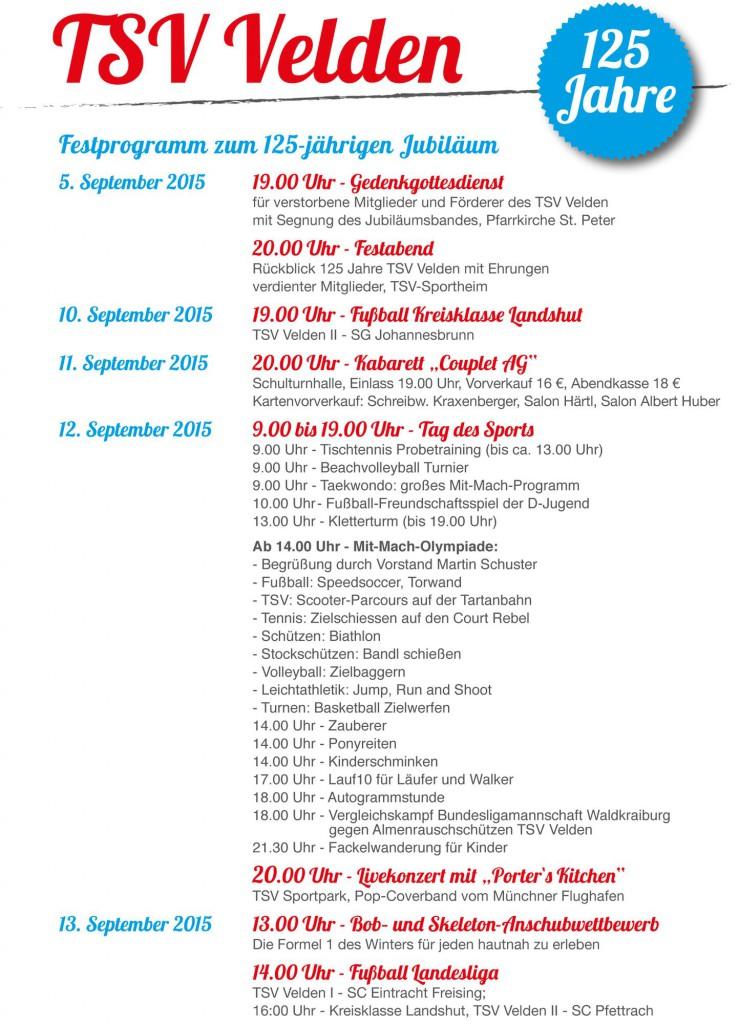 125 Jahre TSV Velden Programm
